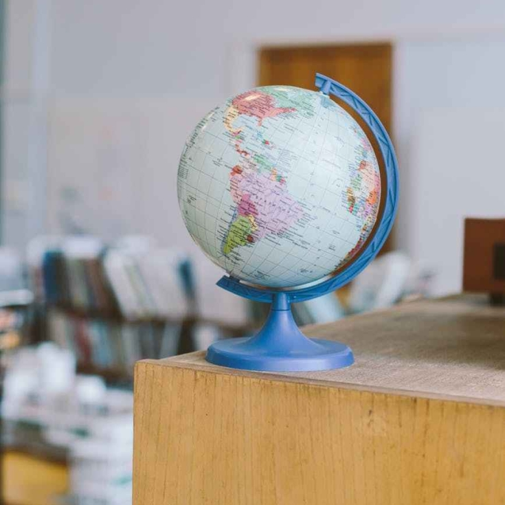 globe on shelf
